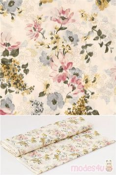 lovely lightweight cotton lawn fabric in natural color with vintage floral pattern in blue, pink, yellow, Material: 100% cotton, Fabric Type: lightweight cotton lawn fabric #Cotton #Lawn #Flower #Leaf #Plants #JapaneseFabrics