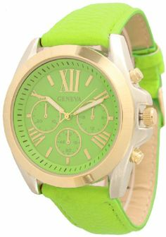 Geneva Women's Leather Roman Numeral Chronograph Watch - Lime Green/Gold Geneva, To enter online shopping Just CLICK on…