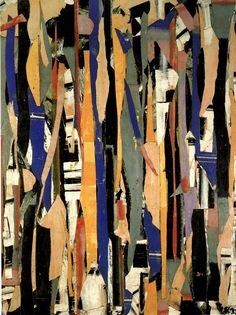 Lee Krasner ~ City Verticals, 1953 (oil, paper, collage) - fascinating shapes and lovely colors - #dansisken #abstractart