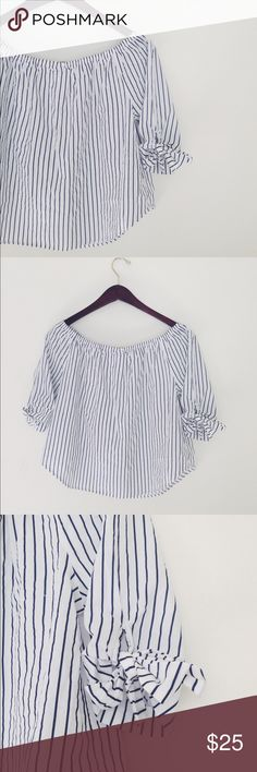 """Stripe Off The Shoulder Top Super cute Stripe Off The Shoulder Top. Size L Junior equivalent to S/M regular. Length 21"""" Bust 15"""" Waist 20"""". On the sleeves extra fabric to tie a cute bow. Tops Blouses"""
