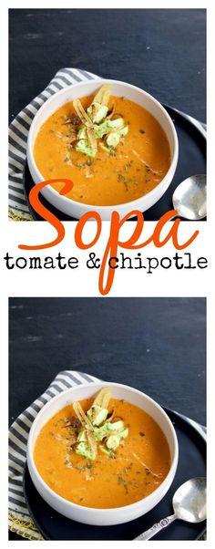 Receta de sopa de tomate y chipotle Veggie Recipes, Mexican Food Recipes, Soup Recipes, Vegetarian Recipes, Cooking Recipes, Sopas Light, Healthy Recepies, Food Porn, Vegan Soups