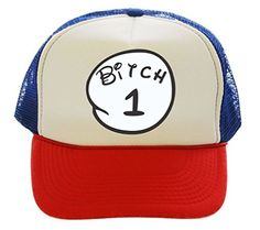 Bitch 1 One Funny Trucker Hat Cap red white blue