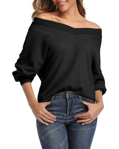 MIROL Womens Off Shoulder Batwing Sleeve Tops Oversized Loose Fit Lightweight Pullover Sweater
