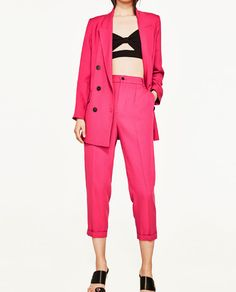 Image 2 of CROPPED TROUSERS WITH STRETCH WAIST from Zara