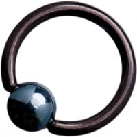 Black Titanium (Blackline) Ball Closure Rings with Ice Blue Titanium Ball