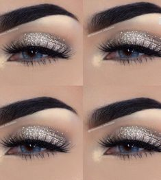 15 Simple Flawless Silver Eye Makeup For. - 15 Simple Flawless Silver Eye Makeup For Prom - Eye Makeup Glitter, Prom Eye Makeup, Silver Eye Makeup, Prom Makeup Looks, Natural Eye Makeup, Makeup For Brown Eyes, Cute Makeup, Silver Eyeshadow Looks, Awesome Makeup