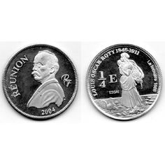 Moneda 2004 Reunión 1/4 euro plata Proof - Louis Oscar Roty. Euro, Coins, Personalized Items, African Countries, African, Stamps, Countries, Silver, Rooms