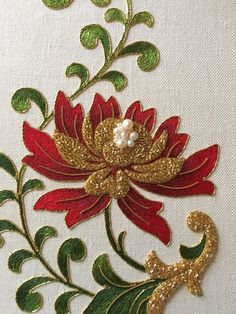 Silk thread (long and short stitch), gold thread, check purl, size - A4. Done by Larissa Borodich