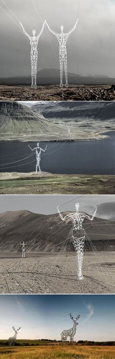 """power lines on """"human"""" power poles  source: knit by emi. tsuboi"""