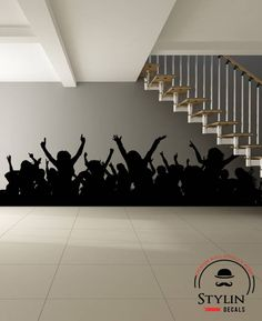 CHEERING CROWD SILHOUETTE-Cheering People- Cheering Audience- Sporting Event Decal, Fight, Concert Wall Art, Vinyl Wall Decal by stylindecals on Etsy https://www.etsy.com/listing/545177613/cheering-crowd-silhouette-cheering