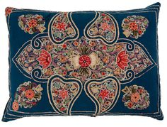 $1,250 Antique Blue Applique and Embroidered Pillow / Kathryn Ireland Shop
