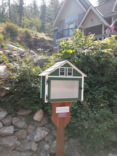 This Little Free Library was designed in the likeness of the no-longer-existing Summer Residence of Austin Corbin II built in 1906, the 1st home built on Tubbs Hill, and was installed in front of the recently built 5th (and last) home built on the hill, overlooking Lake Coeur d'Alene in downtown Coeur d'Alene, Idaho. Built by Little Library Builder of Spokane. www.littlelibrarybuilder.com Little Free Libraries, Little Library, Free Library, Coeur D'alene, Idaho, Building A House, Outdoor Decor, Summer, Design