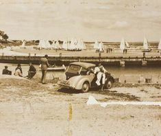 Digital Photograph - Woman Holding Dog Next to Convertible Car, Near Yachts, Black Rock, 1946 Boating Quotes, Old Port, Melbourne Victoria, English Setter, Black Rock, Water Crafts, Historic Homes, Historical Photos, Old Photos