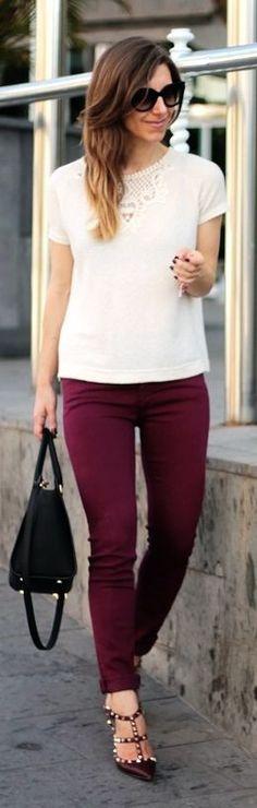 Victoria Beckham Burgundy Skinny Jeans