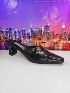 Womens shoes BRIGHTON York black leather croc gator clogs DESIGNER MULES sz 7 M #Brighton #Mules