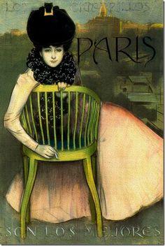 "Not sure if this is a color lithograph or hand-tinted. Advert for Paris cigarettes by artist Ramon Casas. Spanish text reads, ""Paris cigarettes are the best. Art Nouveau, Art Deco, Ramones, Vintage Advertisements, Vintage Ads, Posters Vintage, French Posters, Retro Posters, Spanish Artists"