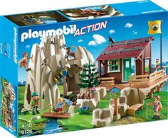 Playmobil Set: 9126 - Rock Climbers with Cabin - Klickypedia Lego Mountain, Lego Storage Boxes, Playmobil Sets, Work Horses, Legos, Gifts For Kids, Climbing, Mountains, Toys