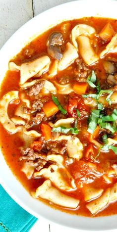 Lasagne Soup Loaded With Pasta, Lots of Cheese And Yummy Italian Sausage!  So,  So, So Delicious......