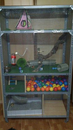 Well look at that.a cage made out of a inexpensive metal shelving unit and hardware cloth! My little hamster would love this! Cage Chinchilla, Ferret Cage, Pet Ferret, Hamster Cages, Ferret Toys, Ferret Clothes, Cage Rat, Pet Rat Cages, Pet Cage