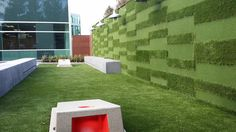The owner of this commercial tech building in San Jose had Heavenly Greens create this beautiful outdoor space with HMH architects in order to attract a full time tenant and compete with surrounding corporate campuses.    The focal point of this restoration was the unique patterned turf wall design by HMH architects and built by Heavenly Greens.  To complement the wall, a 450sqft artificial turf lawn was built to accommodate the corn hole (bean bag toss). Let the games begin!!!