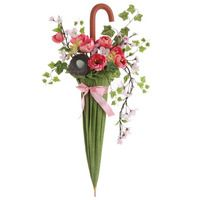 Umbrella door flower arrangement--great alternative to a wreath.
