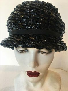 74f08817477 Hat Vtg 1960s Mod Black Patent Custom Woven Straw Cloche Toque Go-Go  Sixties