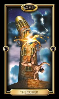 The Gilded Tarot - Tower-The message of The Tower is a difficult one. Unlike The Wheel, with its philosophical message of centeredness, and Death, with its promise of spiritual enlightenment, The Tower doesn't seem to offer much except destruction. Our belief system helps us find calm in the center of The Wheel and gives us courage to face Death. In The Tower that belief system is shattered. The good news is that it is usually shattered by a truth that we didn't recognize before. Knowing…