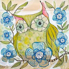watercolor painting of an owl - limited edition and archival print- by cori dantini