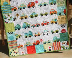 Peak Hour Boy Quilt and Pillows Cars Trucks Vehicles