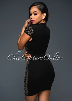 Chic Couture Online - Mirage Black Gold Studded Short Sleeves Dress. (http://www.chiccoutureonline.com/mirage-black-gold-studded-short-sleeves-dress/)