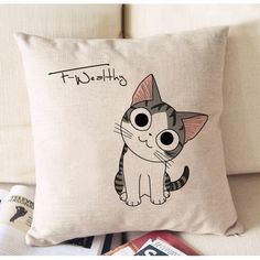"Kawaii Tabby Cat ""Chi's Sweet Home"" Cotton Linen Pillow Case Cushion Cover 17"" 