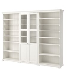 LIATORP Storage combination, white, 108 Are you a romantic at heart? The delicate shapes and details are reminiscent of country living. Combine with other furniture in the LIATORP series for a complete, beautiful look. Bookcase With Glass Doors, Glass Cabinet Doors, Sliding Glass Door, Bookcase White, Shoe Cabinet, Ikea Liatorp, Hemnes Bookcase, Bookcase Shelves, Living Room Bookshelves