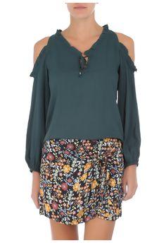 ATEEN - Blusa ombro vazado Betty - verde - OQVestir