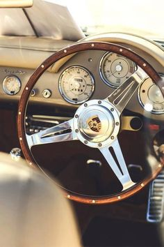 "Porsche Speedster 356 steering wheel (1948 - 1964) | A wooden steering is best for this design, with carbon spokes replacing the chrome, ""modernising"" the design philosophy since with the material."