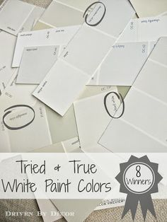 Eight of the most popular, tried and true white paint colors