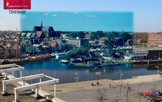 Toen en nu. 1965 - 2014. Alkmaar en de Grote Kerk gezien vanaf het dak van de Ringers Chocoladefabriek.
