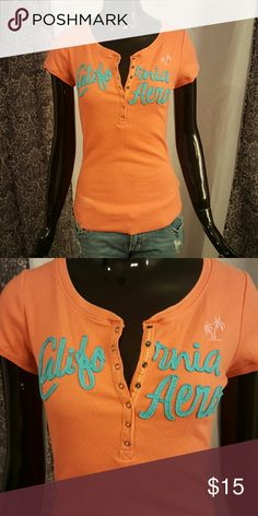 Apropostale ribbed top Button neck ribbed top orange/ coral color Aeropostale Tops Tees - Short Sleeve