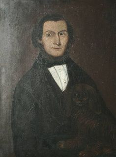 Provincial School, circa 1830 Portrait, half length of a gentleman seated with a spaniel, oil on canvas, 81 x 60 cm (31 7/8 x 23 5/8 in)