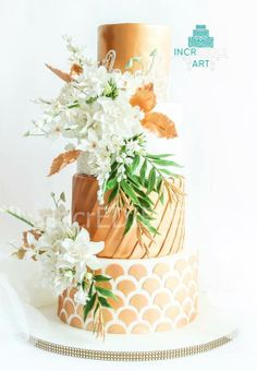 Auric Utopia- Gold and White Wedding Cake