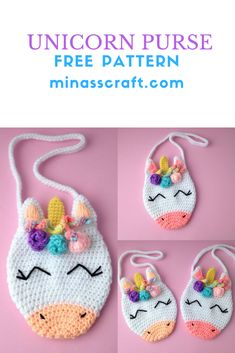 Unicorn Purse crochet free pattern