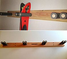 Redwood Vertical Ski Racks - pipe insulation around the rods! great idea!