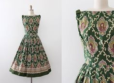 vintage 1950s dress // 50s cotton rococo day dress
