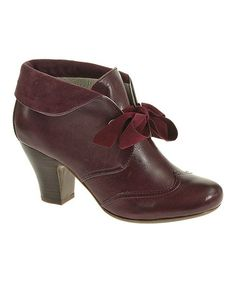 Adorable Booties! Take a look at this Plum Leather Lonna Bootie - Women by Hush Puppies on #zulily today!
