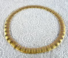 Vintage Collar Necklace, Egyptian Revival, Gold Panels, Mid Century Modernist Modern, 1960s Mad Men Costume Jewelry by AVintageJewelryChest, $24.00