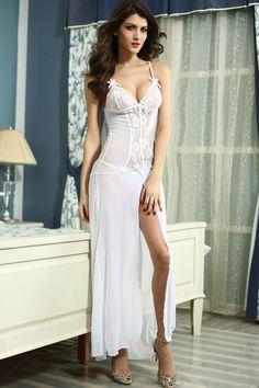 b1d95f7506 White Sheer Mesh High Slit Sexy Gown   Buy Women s Sleepwear