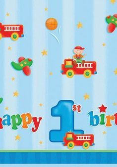 Boy's Playtime 1st Birthday Tablecover Party Supplies by Creative Converting. $5.67
