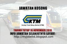 Jawatan Kosong Keretapi Tanah Melayu Berhad (KTMB) - 16 November 2016  Jawatan kosong terkini di Keretapi Tanah Melayu Berhad (KTMB) November 2016. Permohonan adalah dipelawa daripada warganegara Malaysia yang berumur tidak kurang daripada 18 tahun ke atas pada tarikh tutup iklan jawatan dan berkelayakan untuk mengisi kekosongan jawatan kosong terkini di Keretapi Tanah Melayu Berhad (KTMB) sebagai :1. HEAD OF LEGAL AND SECRETARIAL UNITTarikh tutup permohonan 16 November 2016 Lokasi : Kuala…