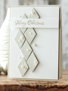Diamonds with white embossed crackle stamp