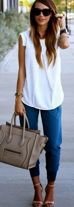 Flowy blouse. Harem pants, skinny cargoes or capris.