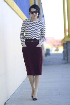 I am trying to figure out how to style my burgundy skirt
